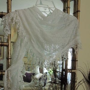 Collection XIIX Fringe White Lace Triangle Scarf